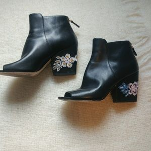 Tory Burch leather embroidered peep toe boots